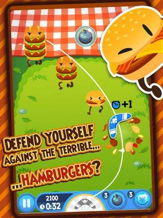 Скачать бесплатно игры для телефона, Скачать Взломанный Burgerang - The Food Wars